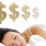 slapende vrouw geld dollar